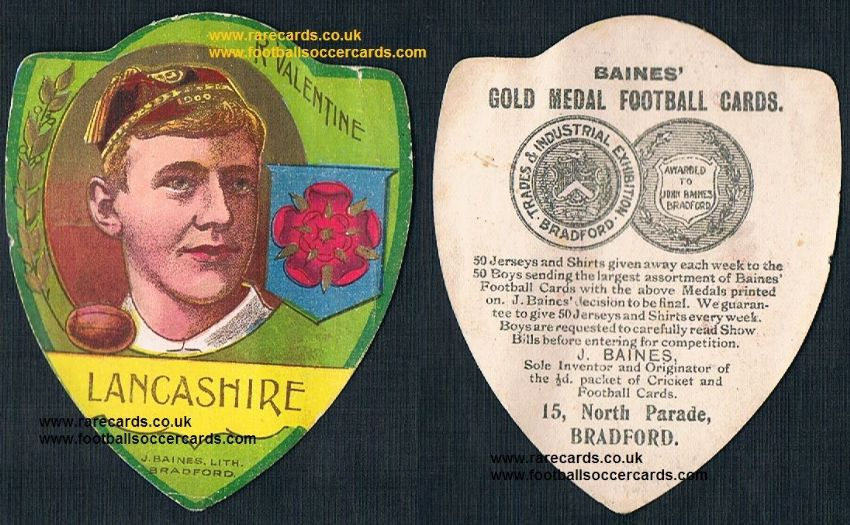 1904 Manchester United goalie & Lancashire RL player Robert Valentine Baines card